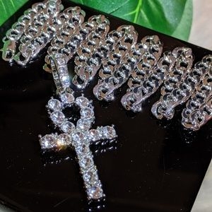 """Other - 24"""" Silver Plated Cuban Chain & Egyptian Ankh"""